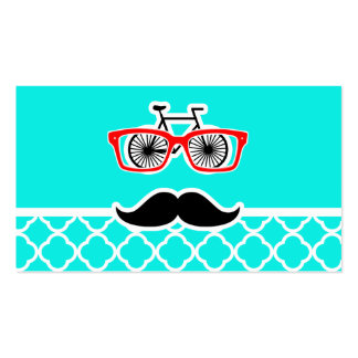Bright Turquoise Quatrefoil; Funny Hipster Business Card Template