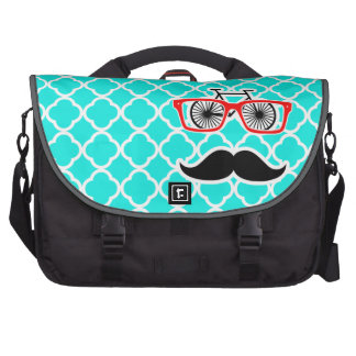 Bright Turquoise Quatrefoil; Funny Hipster Laptop Bags