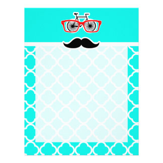 Bright Turquoise Quatrefoil; Funny Hipster Letterhead Template