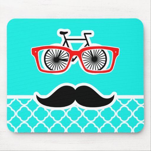 Bright Turquoise Quatrefoil; Funny Hipster Mousepads