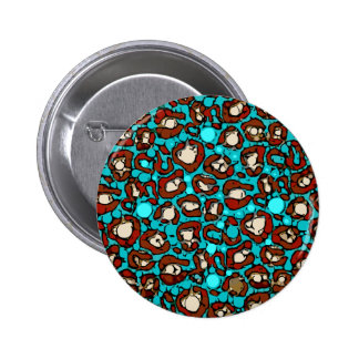 Bright Turquoise Red Cheetah Pinback Button