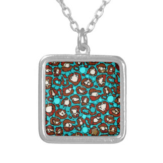Bright Turquoise Red Cheetah Square Pendant Necklace