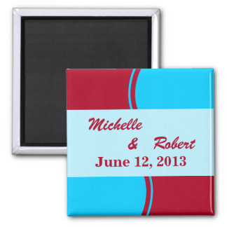 Bright Turquoise Red Modern Wedding 2 Inch Square Magnet
