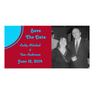 Bright Turquoise Red Modern Wedding Card