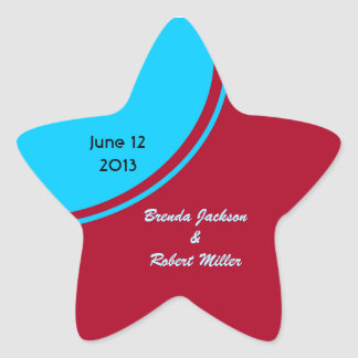 Bright Turquoise Red Modern Wedding Star Sticker