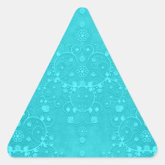 Bright Turquoise Teal Aqua Damask Pattern Triangle Sticker