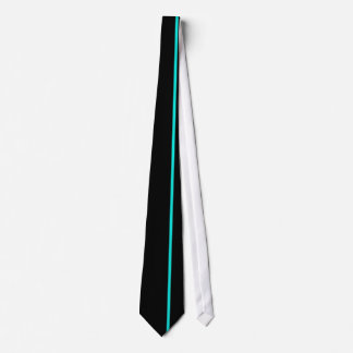Bright Turquoise Thin Vertical Line on Black Tie