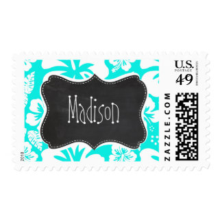 Bright Turquoise Tropical Hibiscus; Chalkboard Stamp