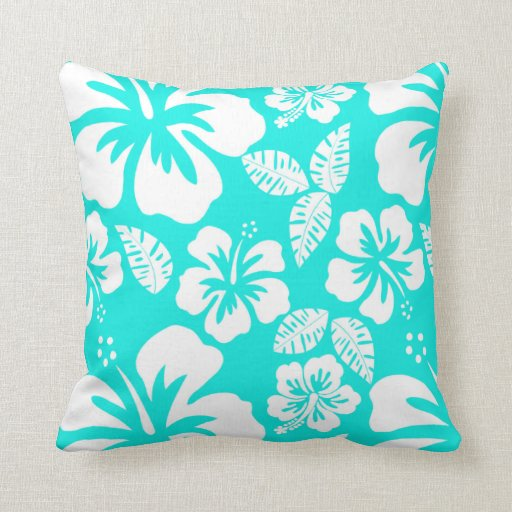 bright turquoise tropical hibiscus throw pillow