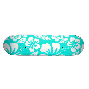 Bright Turquoise Tropical Hibiscus Skateboard