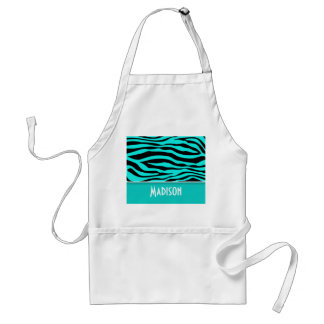 Bright Turquoise Zebra Animal Print; Personalized Adult Apron