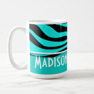 Bright Turquoise Zebra Animal Print; Personalized Coffee Mug