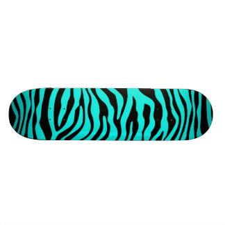 Bright Turquoise Zebra Stripes Animal Print Skateboard Deck