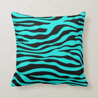 Bright Turquoise Zebra Stripes Animal Print Throw Pillow