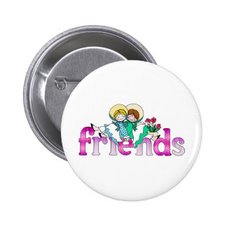 Bright Two Girls Friends Pinback Button