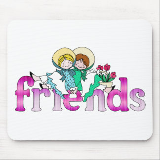 Bright Two Girls Friends Mouse Pad