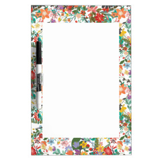 Bright Vector Flowers Pattern Dry-Erase Board