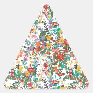 Bright Vector Flowers Pattern Triangle Sticker