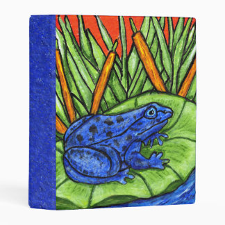 Bright Vibrant Blue Frog in Water on Lily Pad Mini Binder