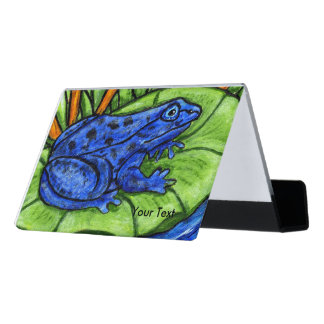 Bright Vibrant Blue Frog Spots on Green Lily Pad Desk Business Card Holder