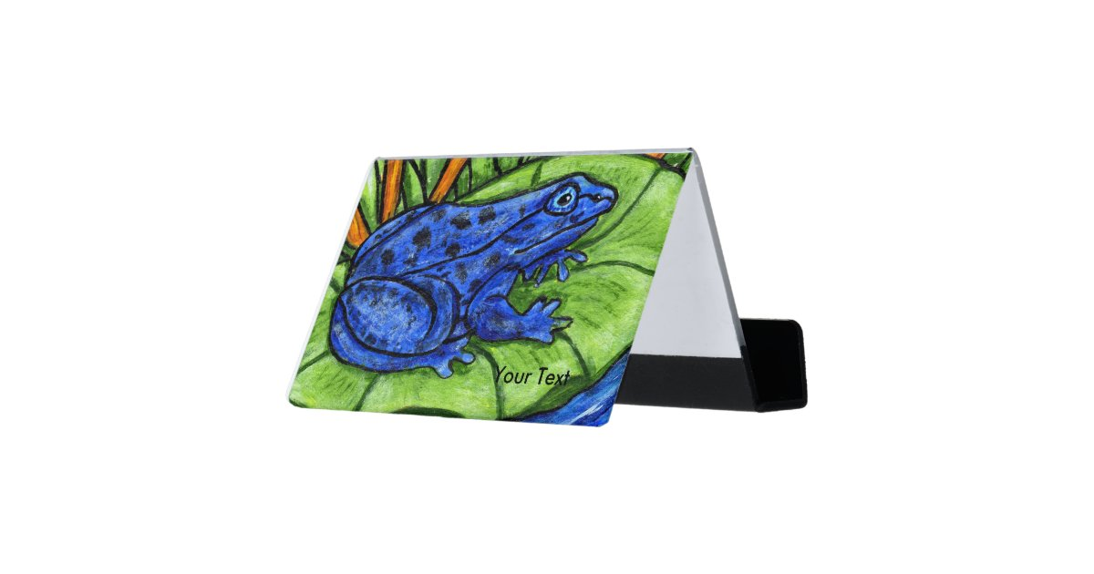 Bright Vibrant Blue Frog Spots on Green Lily Pad Desk Business ...