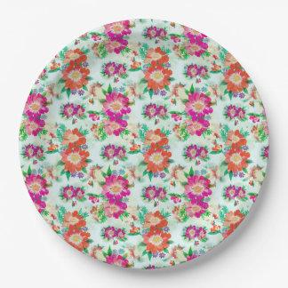 Bright Vintage Floral Pattern Paper Plate