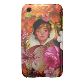Bright Vintage Woman Flower Garden Case-Mate iPhone 3 Cases