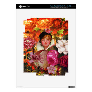 Bright Vintage Woman Flower Garden iPad 3 Decal