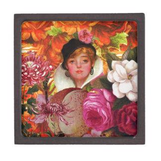 Bright Vintage Woman Flower Garden Keepsake Box