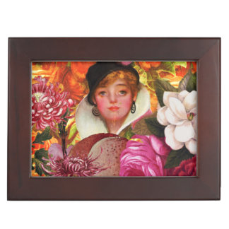 Bright Vintage Woman Flower Garden Memory Box