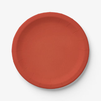 Bright Warm Red Grainy Texture 7 Inch Paper Plate