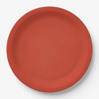 Bright Warm Red Grainy Texture 9 Inch Paper Plate