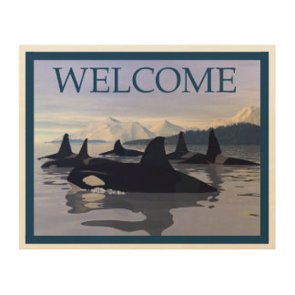 Bright Water Orca - Welcome Wood Wall Decor
