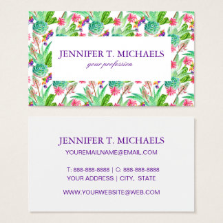 Bright Watercolor Cactus & Succulent Pattern Business Card
