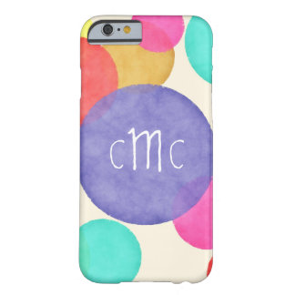 Bright Watercolor Circles Monogram Barely There iPhone 6 Case