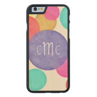 Bright Watercolor Circles Monogram Carved Maple iPhone 6 Slim Case