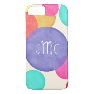 Bright Watercolor Circles Monogram iPhone 8/7 Case