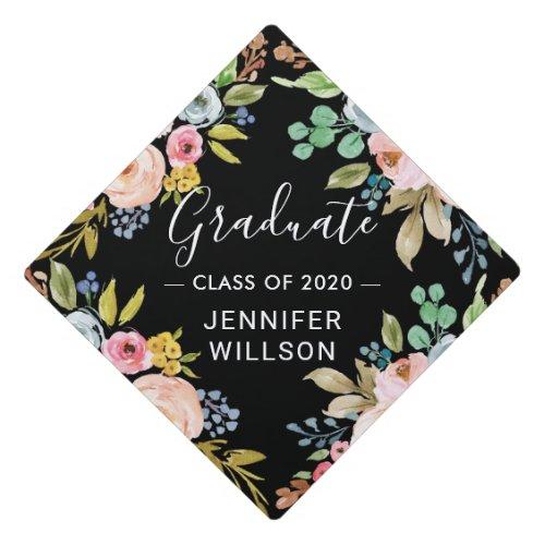 Bright Watercolor Floral  Class of 2019 Graduate Graduation Cap Topper