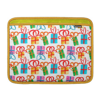 Bright watercolor gift boxes, birthday or christma sleeve for MacBook air