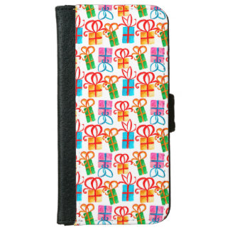 Bright watercolor gift boxes, birthday or xmas wallet phone case for iPhone 6/6s