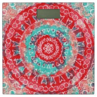 Bright Watercolor Mandala Print Bathroom Scale