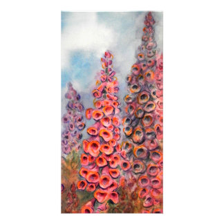Bright Watercolor of Foxgloves Photo Card