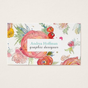 Professional Business Bright Watercolor Peonies Custom Business Card
