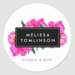 Bright Watercolor Pink Peonies Floral Bouquet Classic Round Sticker