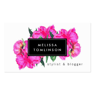 Bright Watercolor Pink Peonies II Stylist, Beauty Double-Sided Standard Business Cards (Pack Of 100)