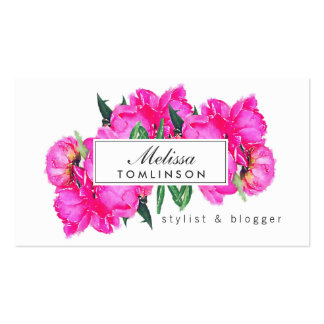 Bright Watercolor Pink Peonies Stylist, Beauty Double-Sided Standard Business Cards (Pack Of 100)