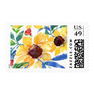Bright Watercolor Sunflowers Postage