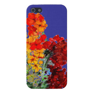 Bright Watercolour Wallflowers on Blue Cover For iPhone SE/5/5s