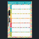 """Bright Weekly Chore List Dry Erase Board<br><div class=""""desc"""">Bright and colorful weekly chore list dry erase board by WRKDesigns.</div>"""