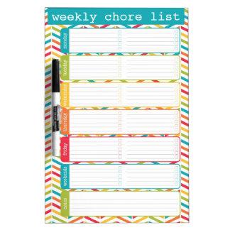Bright Weekly Chore List Dry Erase Board